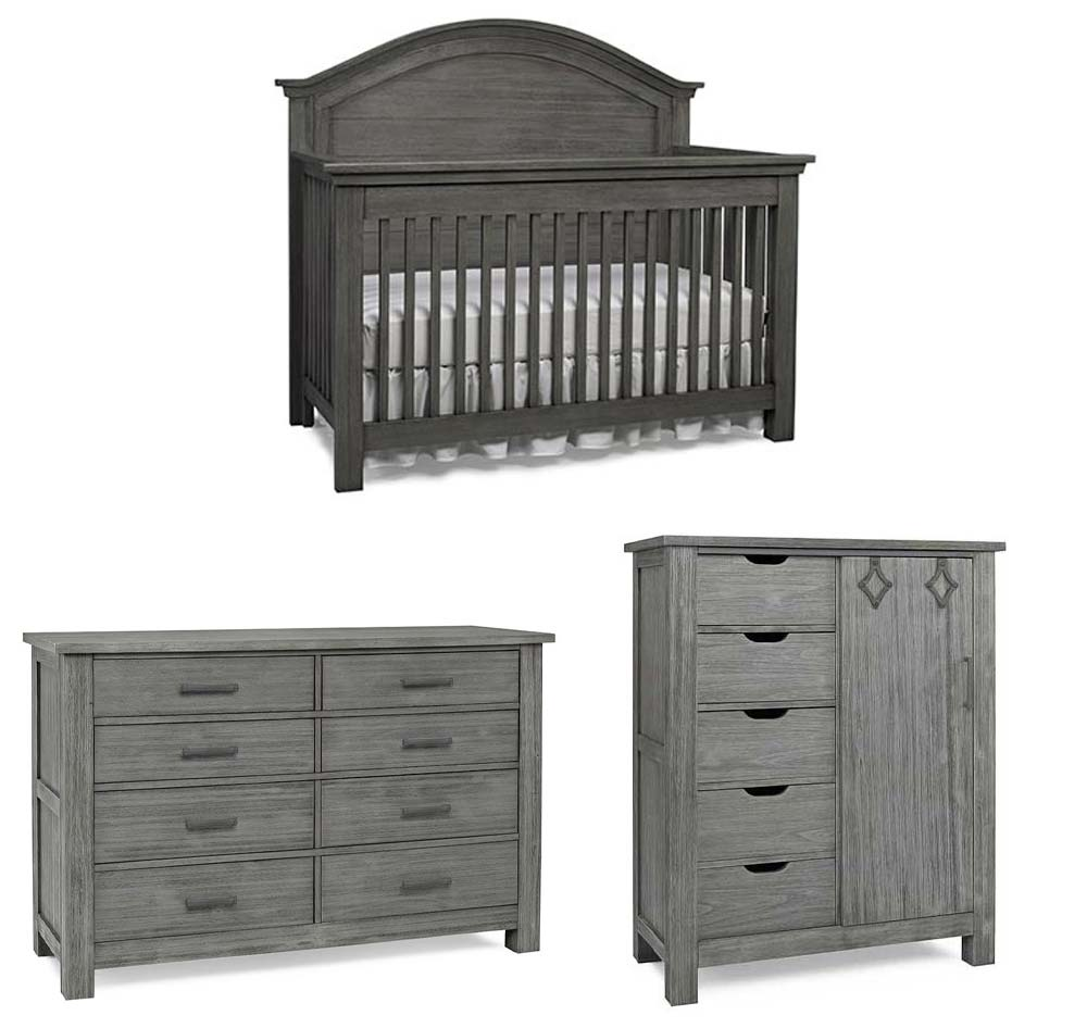 Lucca Arched Crib, Double Dresser and Chifferobe