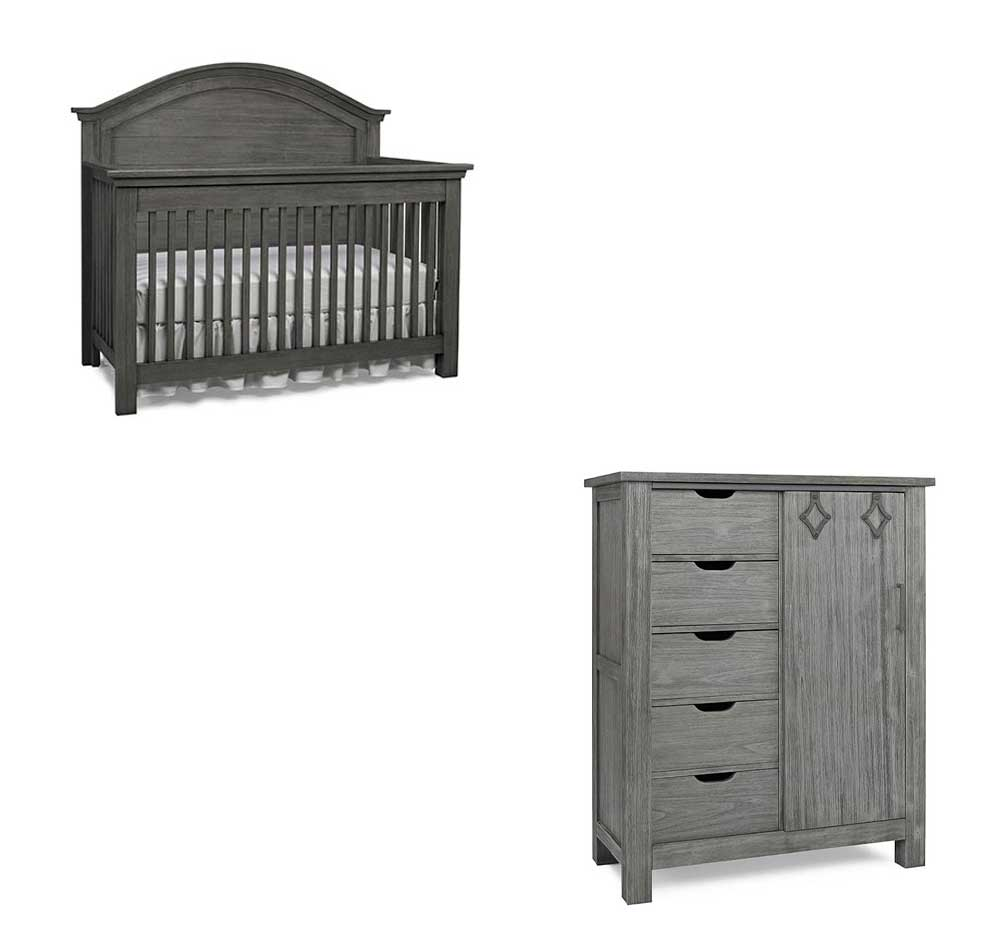 Lucca Arched Crib and Chifferobe