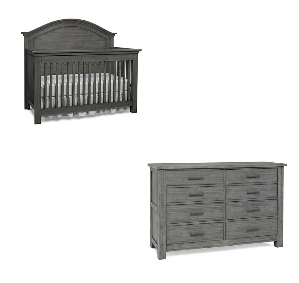 Lucca Arched Crib and Double Dresser