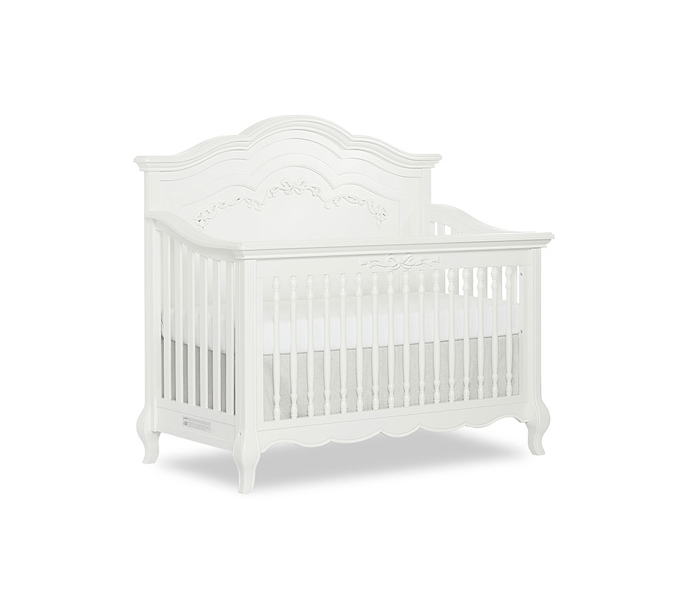 Evolur Aurora Convertible Crib Angled in Frost White