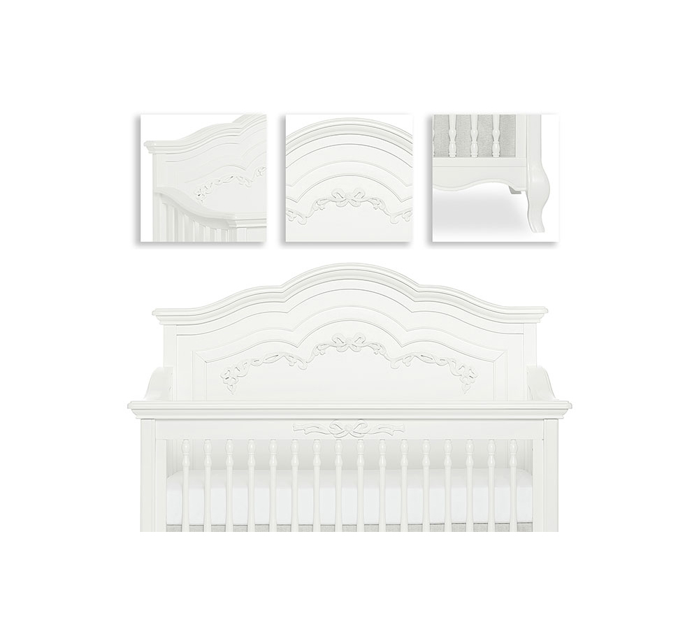 Evolur Aurora Convertible Crib Details in Frost White