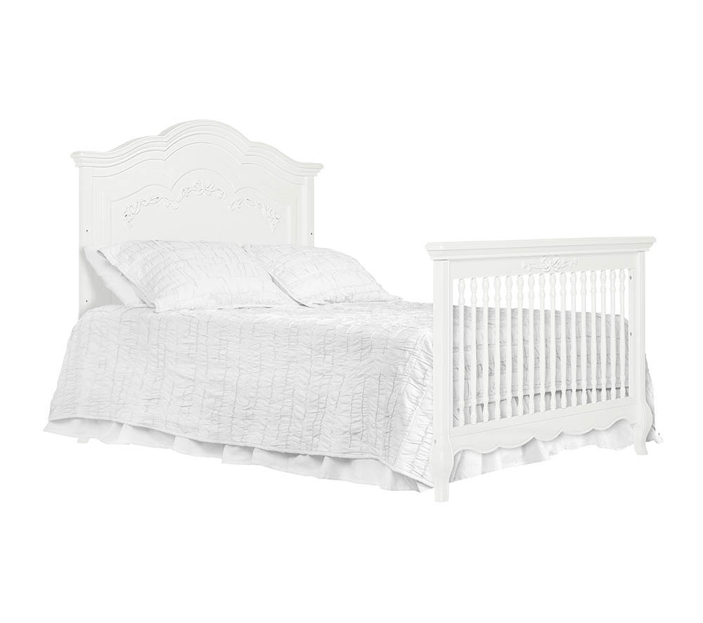 Evolur Aurora Convertible Crib Full Bed with Headboard in Frost White