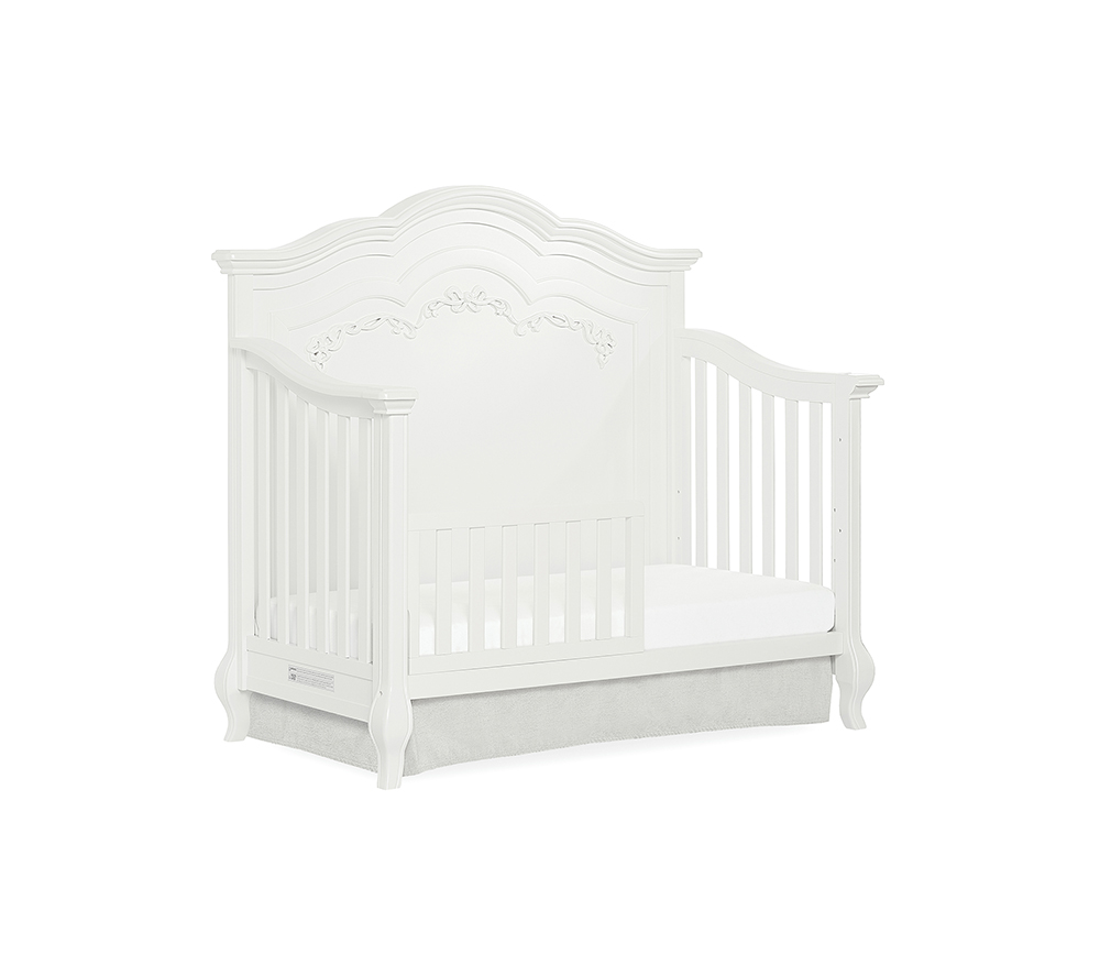 Evolur Aurora Convertible Crib Toddler Bed in Frost White
