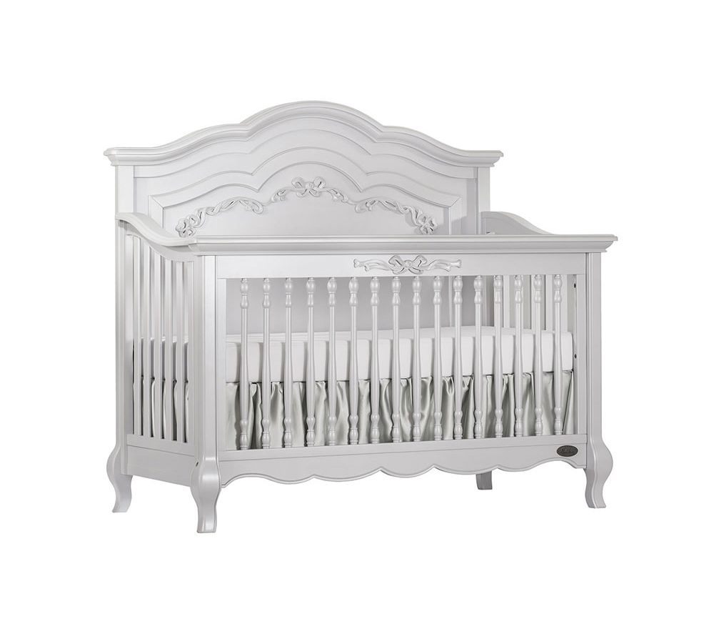 Evolur Aurora Convertible Crib Angled in Akoya Grey