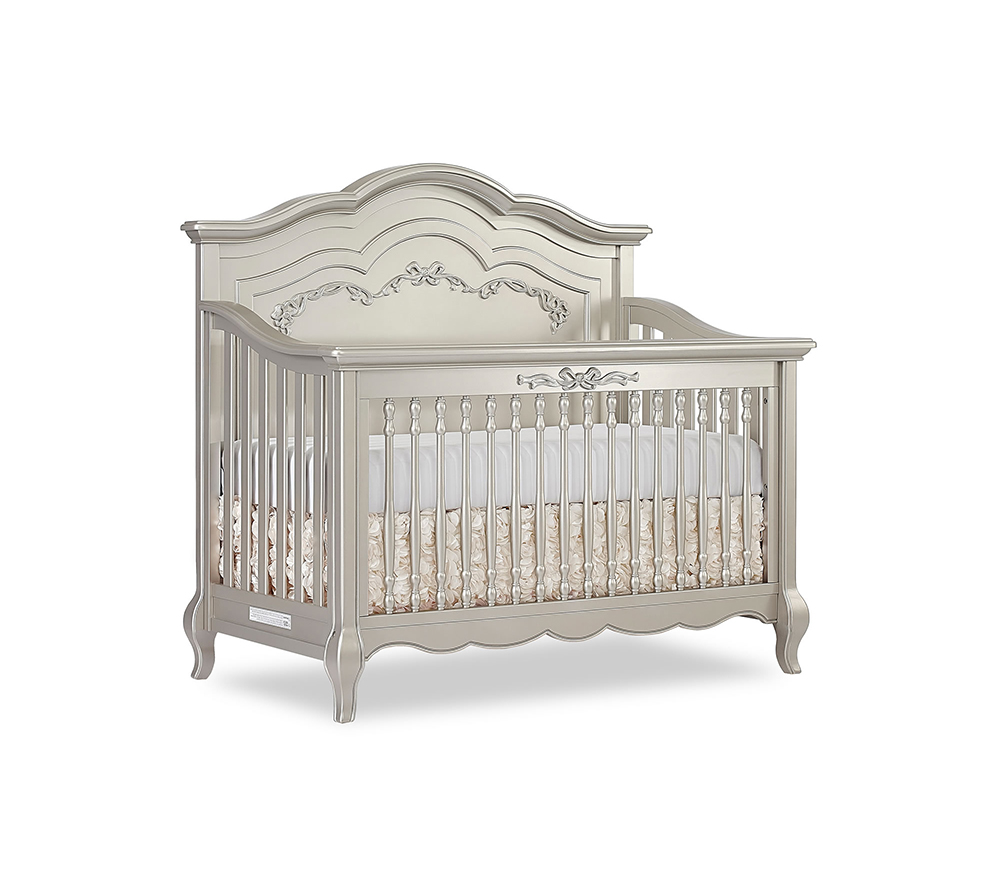 Evolur Aurora Convertible Crib Angled in Gold Dust