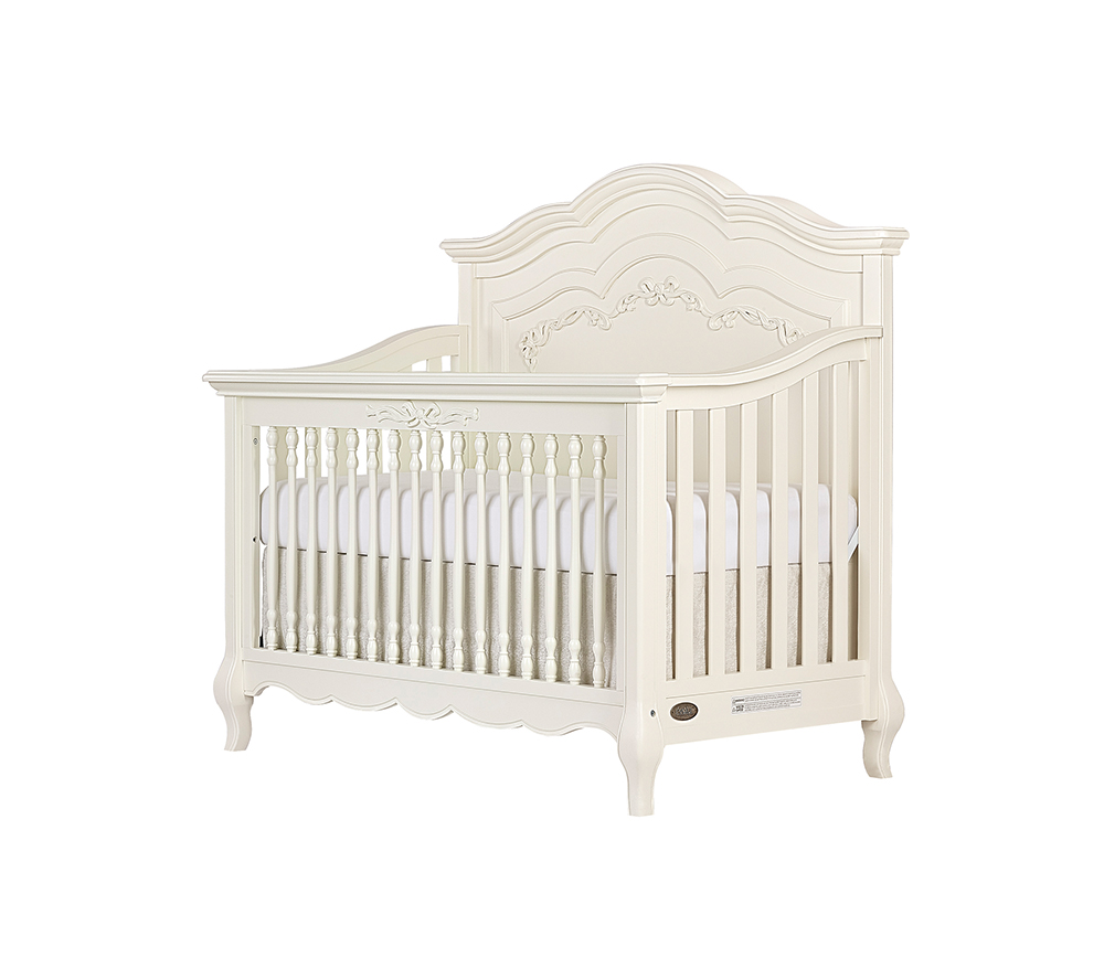 Evolur Aurora Convertible Crib Angled in Ivory Lace