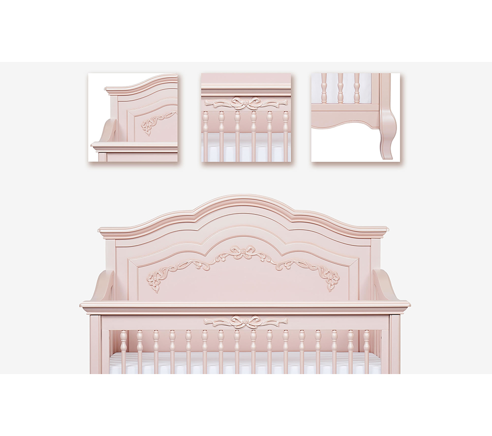 Evolur Aurora Convertible Crib Angled in Blush Pink