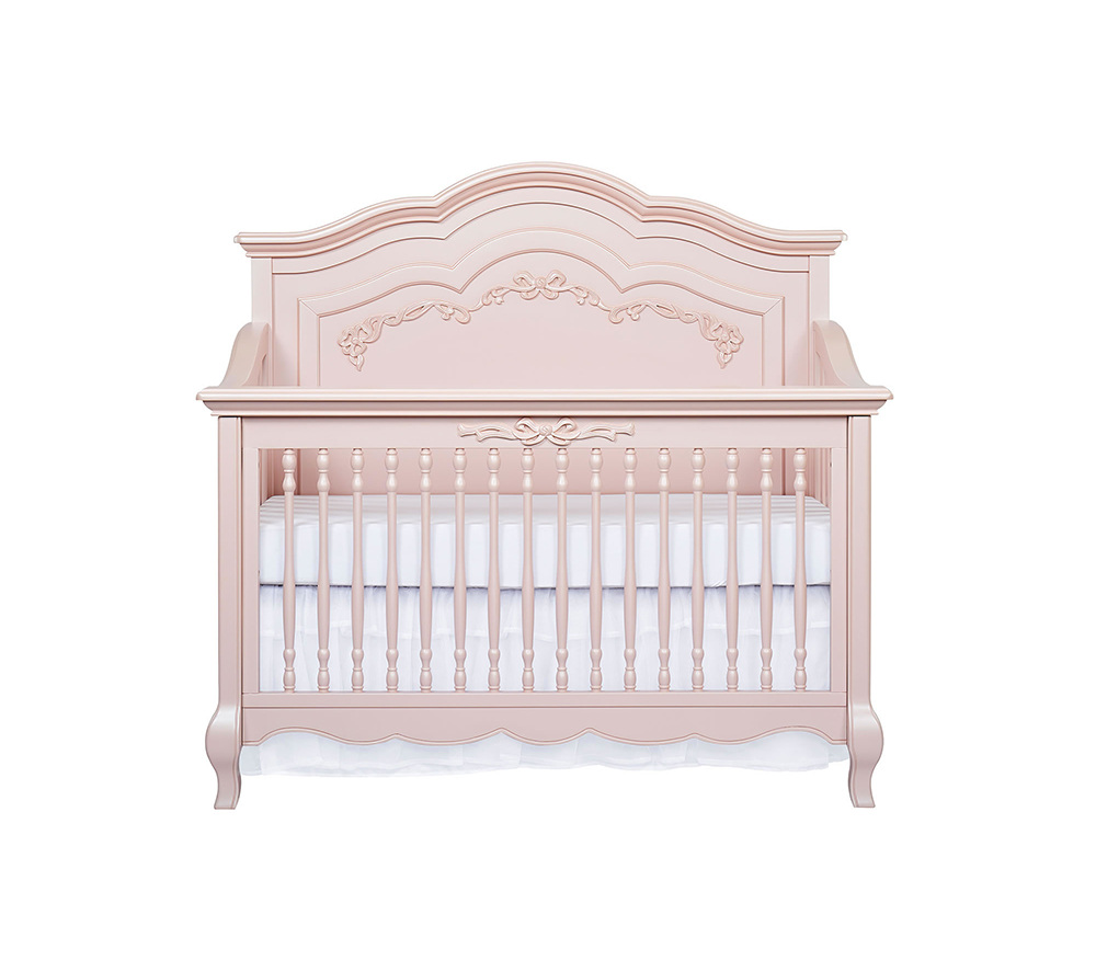 Evolur Aurora Convertible Crib Front in Blush Pink