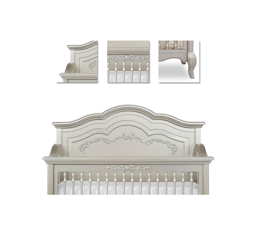 Evolur Aurora Convertible Crib Details in Gold Dust