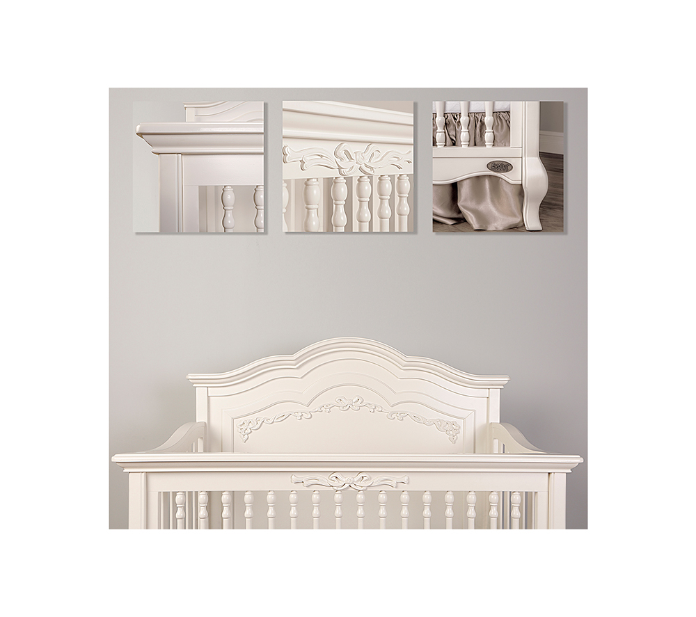 Evolur Aurora Convertible Crib Details in Ivory Lace