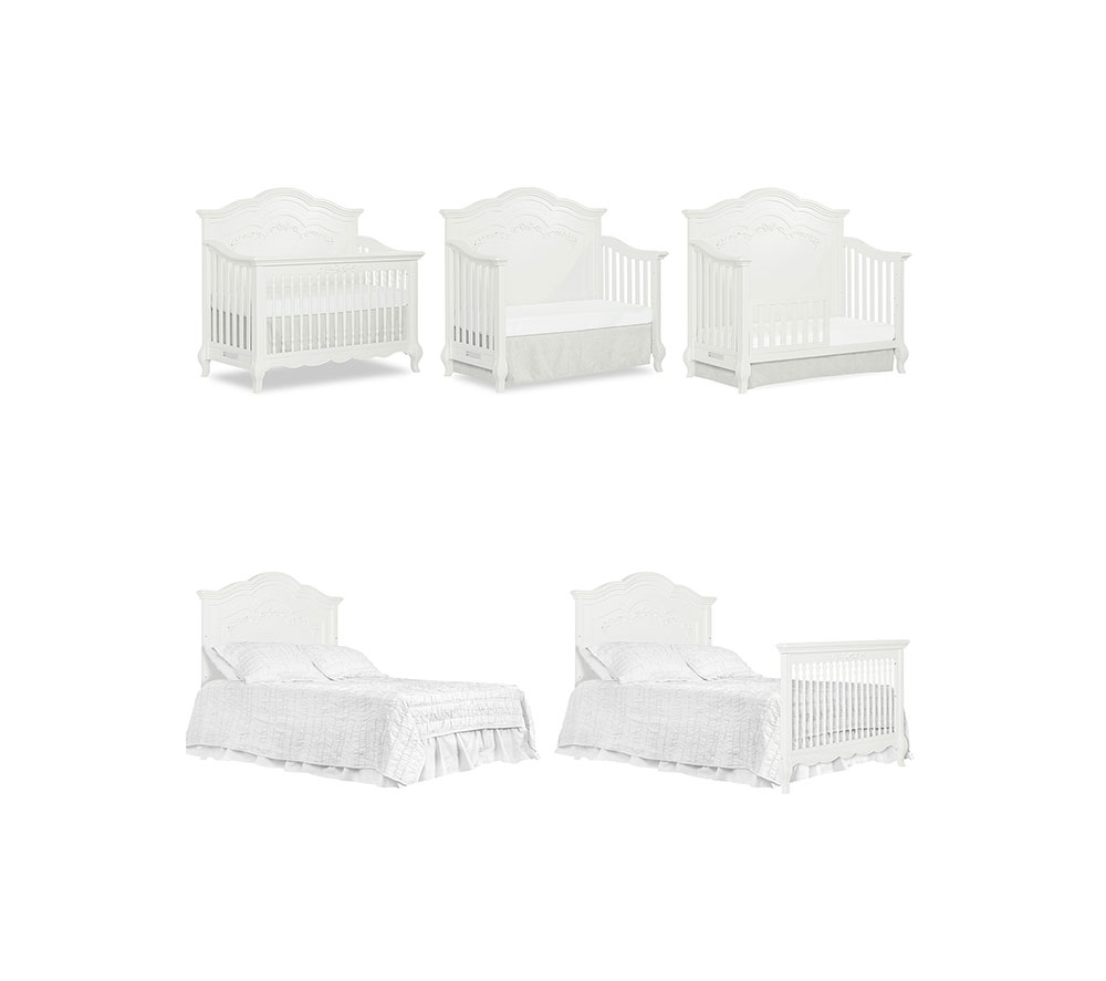 Evolur Aurora Convertible Crib Stages  in Frost White