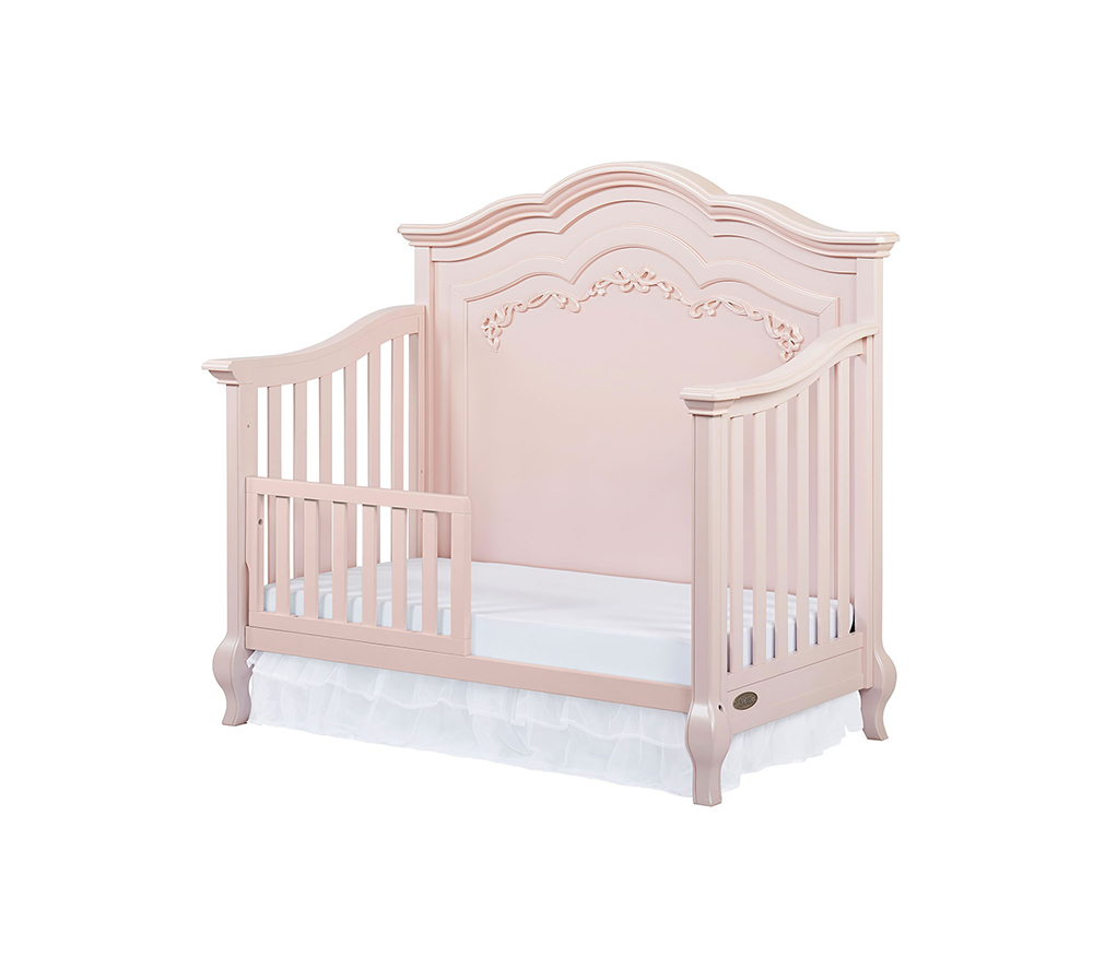 Evolur Aurora Convertible Crib Toddler Bed in Blush Pink