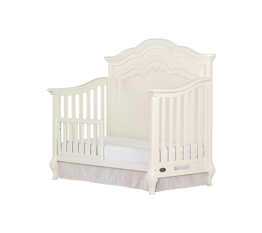 Evolur Aurora Convertible Crib Toddler Bed in Ivory Lace