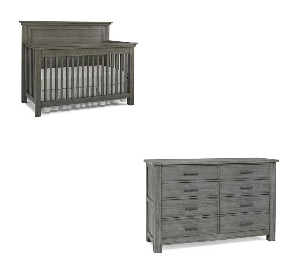 Lucca Full Panel Crib and Double Dresser