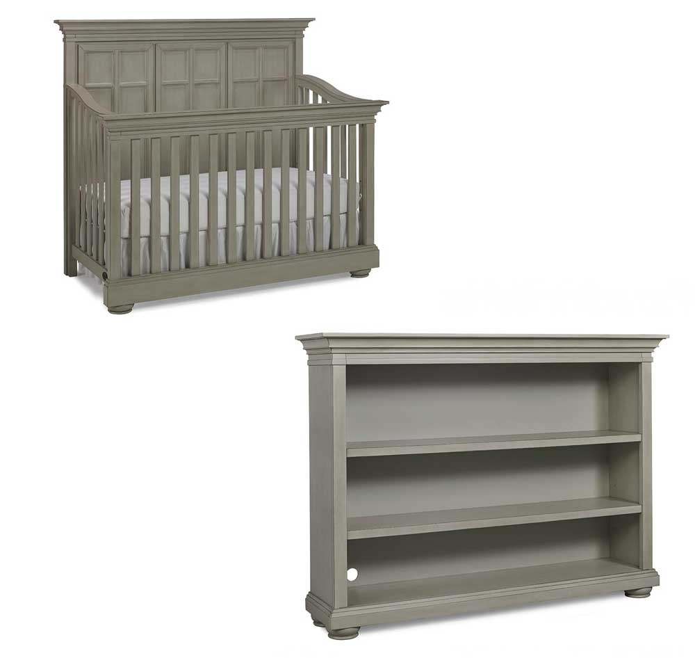 Serena Crib and Bookcase Floor Sample in Saddle Grey
