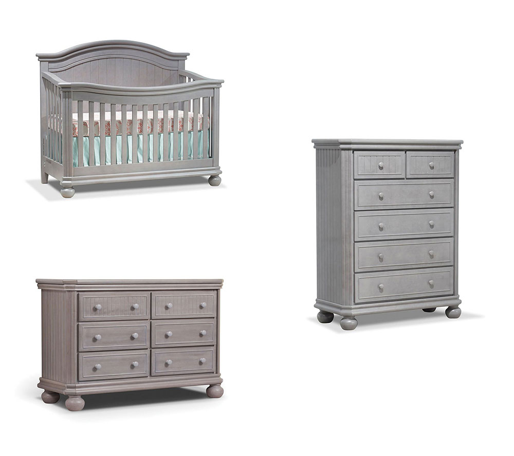 Finley Collection 3 Piece Set: Crib, Double Dresser and 5 Drawer Chest