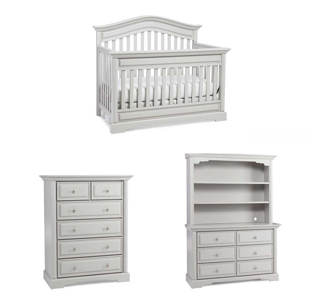 Venezia Crib, Double Dresser, Hutch and Chest in Misty Grey Floor Sample